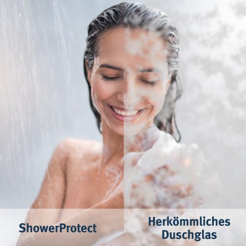 ShowerProtect-Glas verglichen mit herkömmlichem Duschglas